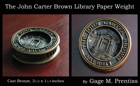 The John Carter Brown Library Paperweight -  Cast Bronze  3.5 x 1.25 inches