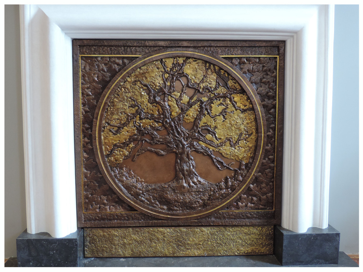 Oak Tree Fireplace Tableau - Resin and Gilding with Bronze Patina