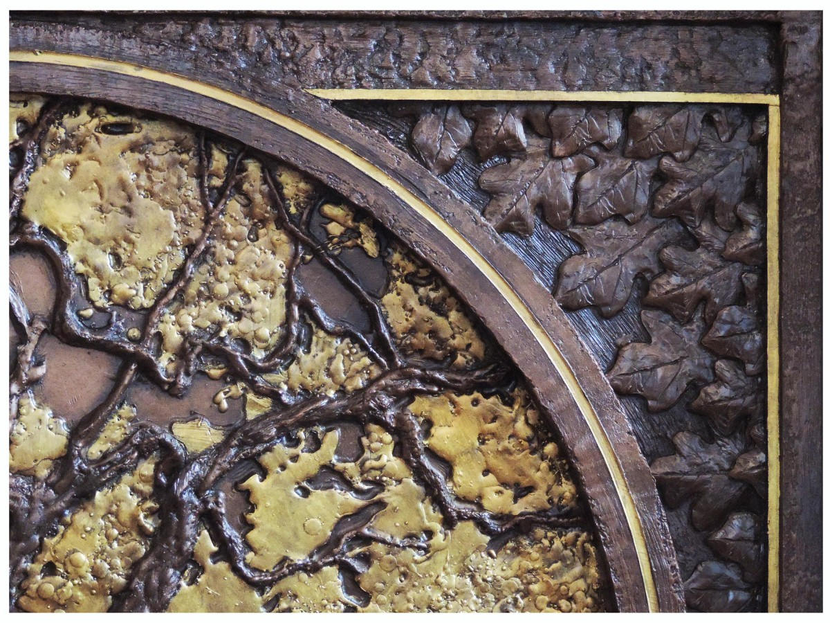 Oak Tree Fireplace Tableau - Resin and Gilding with Bronze Patina (Detail)